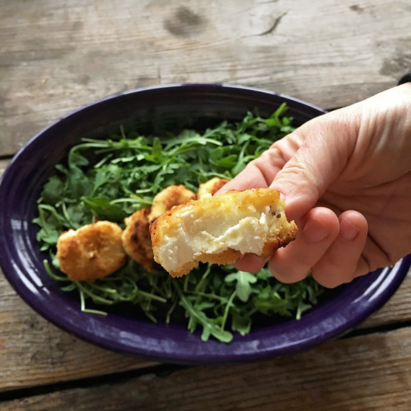 KETO FRIED GOAT CHEESE MEDALLIONS