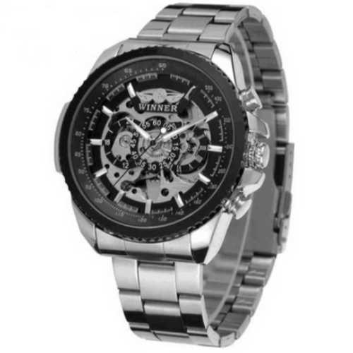 Hollow Scratch-Analoog horloge heren-Platinum Black-TrendBody
