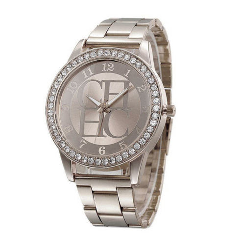 Diamond Strip-Analoog horloge dames-Diamant horloge dames-Platinum Silver-TrendBody