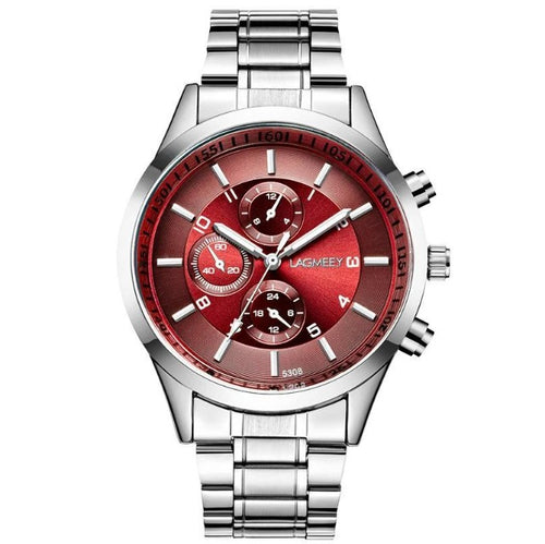 Black Needle-Chronograaf horloge heren-Platinum Red-TrendBody