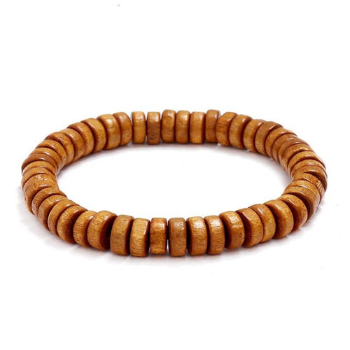 Wooden bead bracelet-Heren Armband-Light Brown-TrendBody