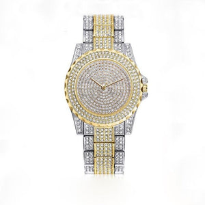 Femin Diamond-Analoog horloge dames-Diamant horloge dames-Platinum Gold-TrendBody