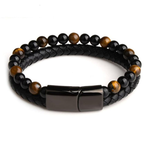Pearl Tiger-Leren armband heren-Space Brown-TrendBody