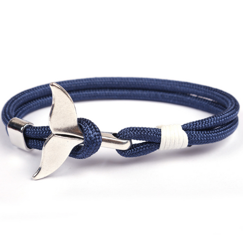 Anchor Whale-Touw armband heren-Navy Blue-TrendBody