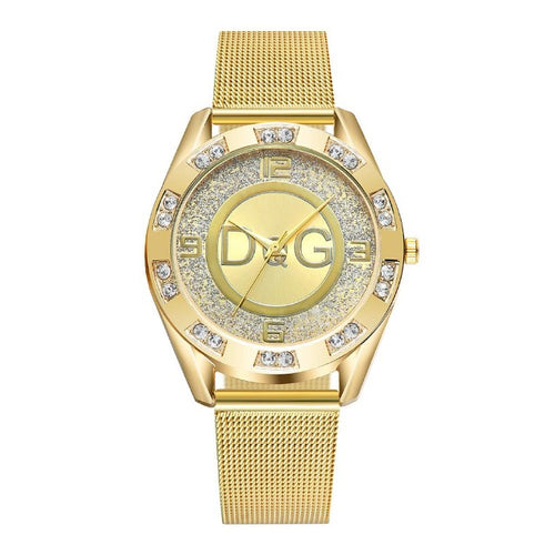 Diamond Burr-Analoog horloge dames-Diamant horloge dames-Royal Gold-TrendBody