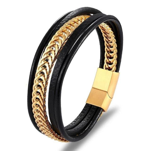 Combi Chain-Leren armband heren-Royal Gold-TrendBody