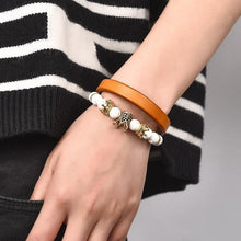Afbeelding in Gallery-weergave laden, Leather Genie-Leren armband unisex-Space Black-TrendBody