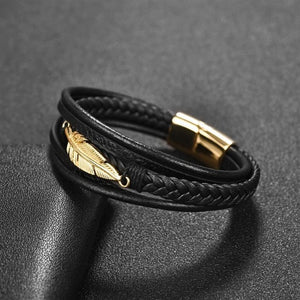 Golden Leaf-Leren armband heren-Space Black-Small 18.5cm-TrendBody