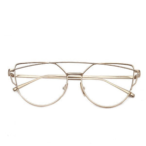 Shop Stop-Cat eye zonnebril dames-Cat eye zonnebril-Clear Gold-TrendBody