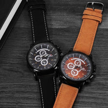 Afbeelding in Gallery-weergave laden, PU Military-Chronograaf horloge heren-Space Black-TrendBody