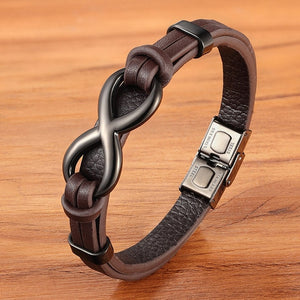 Power Infinity-Leren armband heren-Leren armband-Brown-TrendBody