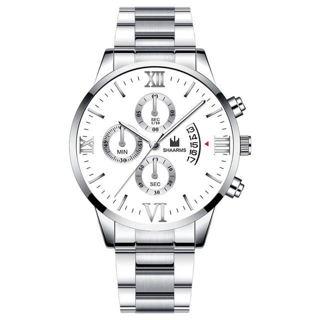 Past The Clock-Chronograaf horloge heren-Robuust horloge heren-Platinum White-TrendBody