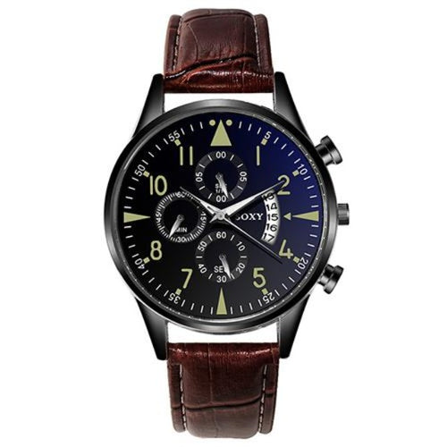 Active Class Leather-Chronograaf horloge heren-Leren horloge heren-Desert Black-TrendBody