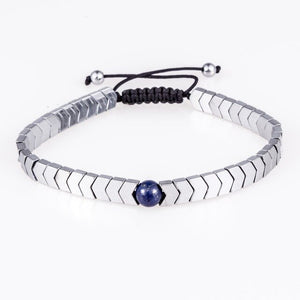 Woven Drop-Slavenarmband heren-Platinum Blue-TrendBody