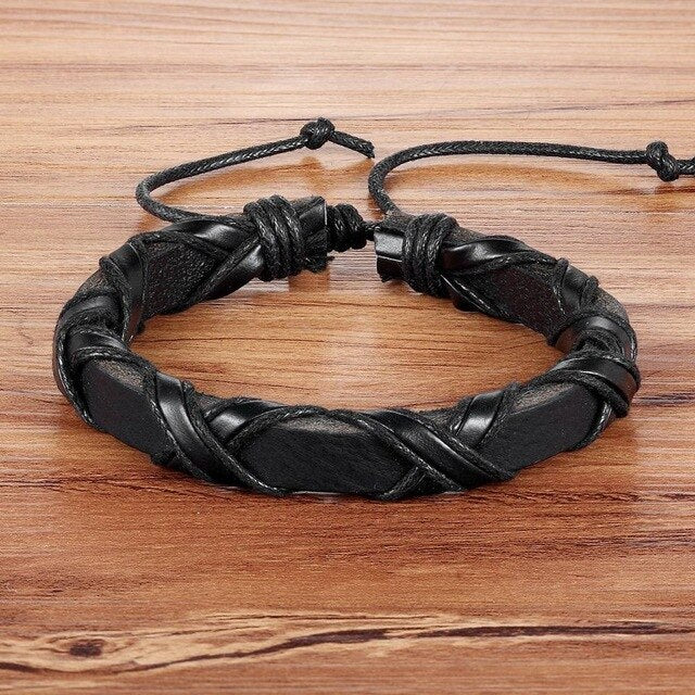 Twining Day-Leren armband heren-Leren armband-Space Black-TrendBody