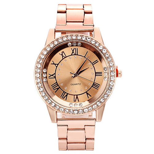Roman Goddess-Analoog horloge dames-Diamant horloge dames-Rose Gold-TrendBody
