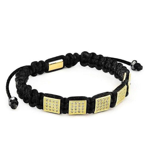 Gold Geo-Leren armband dames-Royal Gold-TrendBody