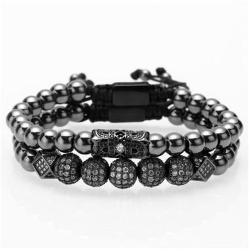 Beaded Victory-Gouden armband heren-Space Black-TrendBody