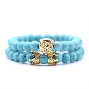 King Of Lions-Kralen armband heren-Sky Blue-TrendBody