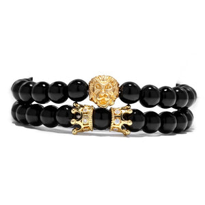 King Of Lions-Kralen armband heren-Kralen armband-Royal Black-TrendBody
