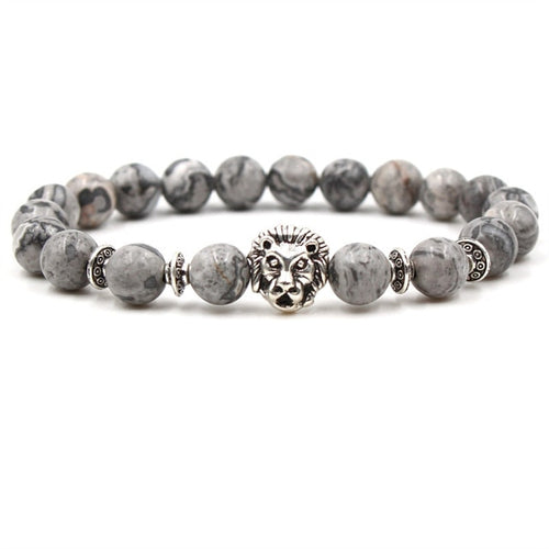 Animal Kingdom-Kralen armband heren-Silver Lion-TrendBody