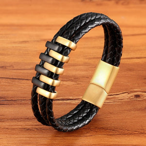 Double Down-Leren armband heren-Leren armband-Space Gold-TrendBody