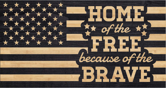 home of the free because of the brave flag, charred wood flag, custom made in USA flag
