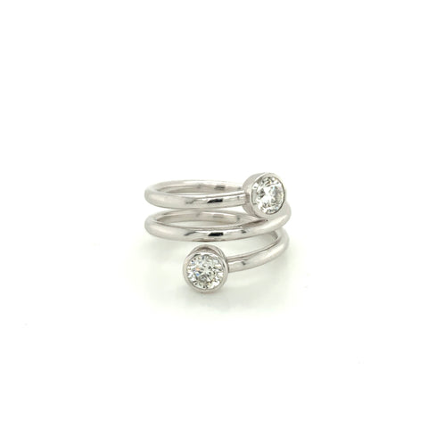 Two Stone Spiral Ring, Size 7