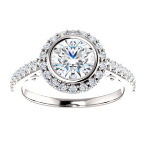 Bezel-Scroll Halo Ring