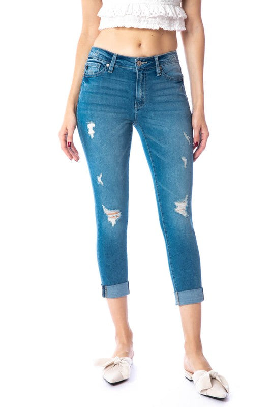 Kan Can Gemma Mid Rise Cropped Skinny Jean 5015LY