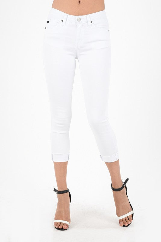 Kan Can Gemma White Mid Rise Cropped Jean 5015WT