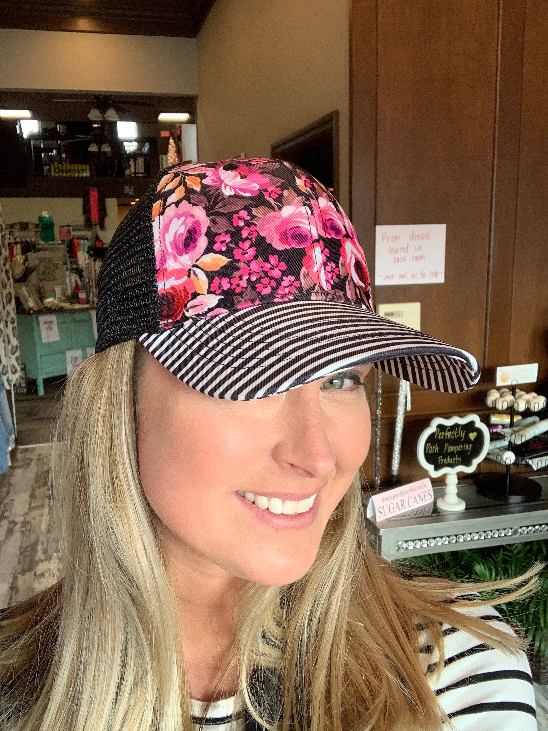 Floral And Stripes Hat