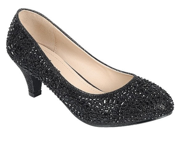 Bejeweled Kitten Heels- Black