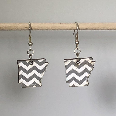 Arkansas State Chevron Wooden Dangle Earrings - cates-concepts.