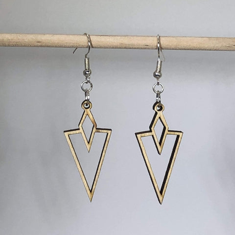 Art Deco Arrow Vee Dangle Earrings - cates-concepts.