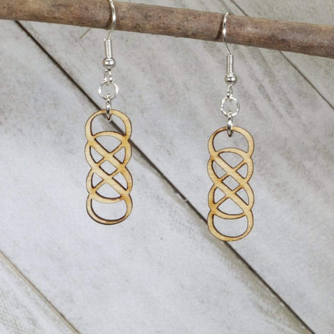 Art Deco Double Infinity Wooden Dangle Earrings