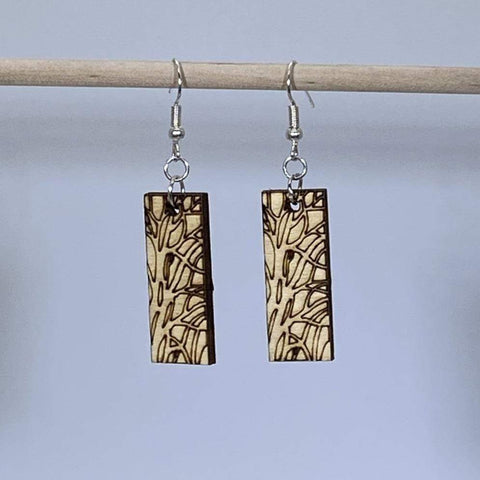 Art Nouveau Tree Bar Wooden Dangle Earrings