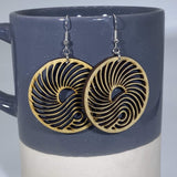 Big Wave Wooden Circle Dangle Earrings - cates-concepts.