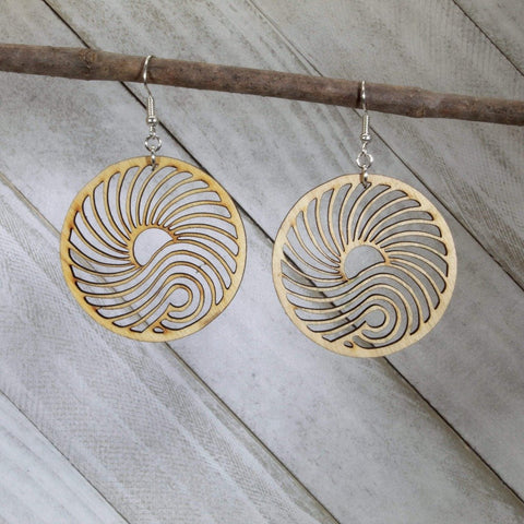 Big Wave Wooden Circle Dangle Earrings