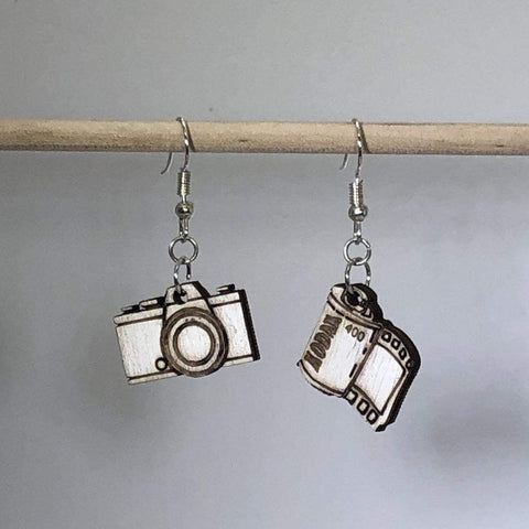 Camera and Film Canister Wooden Dangle Earrings