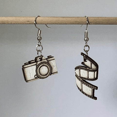 Camera and Film Strip Wooden Dangle Earrings