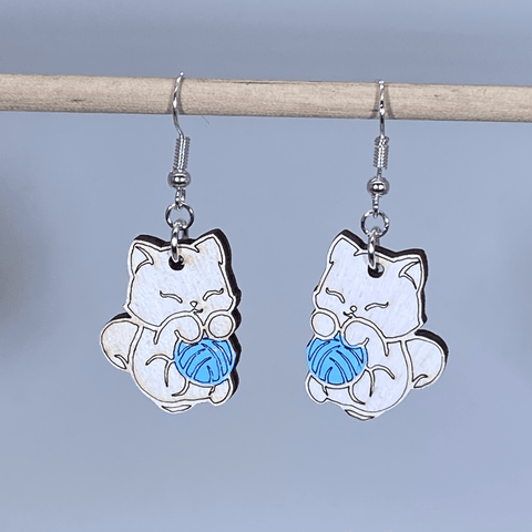 Cat and Yarn Wooden Dangle Earrings - cates-concepts.