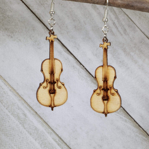 Cello Wooden Dangle Earrings