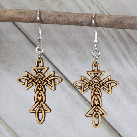 Celtic Knot Cross Dangle Earrings