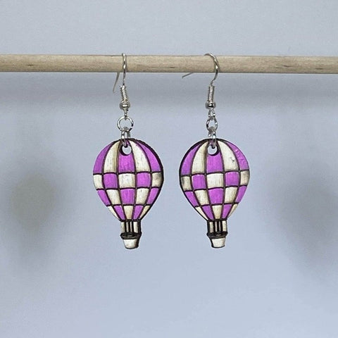 Pink Checkered Hot Air Balloon Dangle Earrings