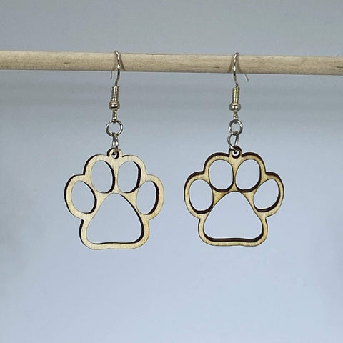 Circle Paw Print Wooden Dangle Earrings - cates-concepts.