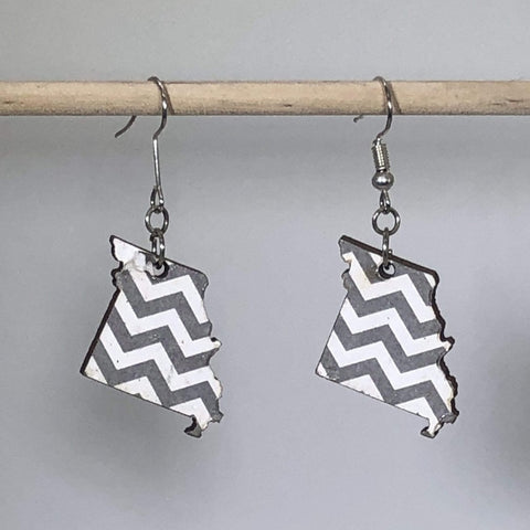 Missouri Chevron Wooden Dangle Earrings - cates-concepts.