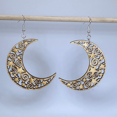 Crescent Moon Wooden Dangle Earrings - cates-concepts.