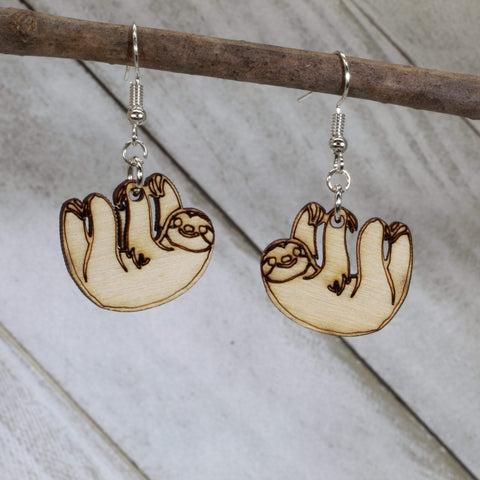Sloth Wooden Dangle Earrings
