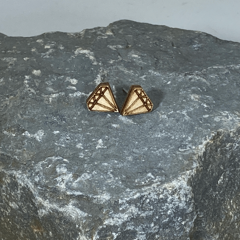 Diamond Stud Wooden Earrings - cates-concepts.